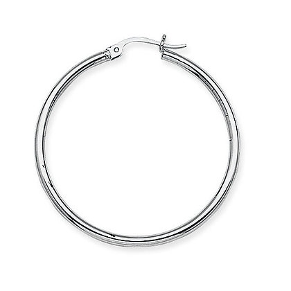 "14K White Gold 1-1/2"" Hoop Earrings"