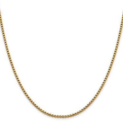 14K Yellow Gold Diamond Cut Round Box Chain