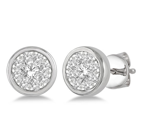 14K White Gold Bezel Set .50 cttw Diamond Earrings