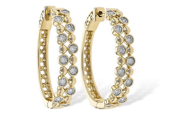 14K Diamond Large Hoop Earrings