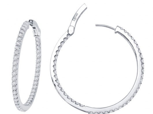 Sterling Silver Platinum Finish Large Inside Outside Hoop Earrings