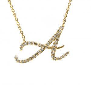 "14k Diamond Script Initial 16""-18"" Necklace"