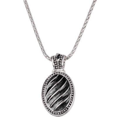 Black Seas Chain Silver Tone Necklace