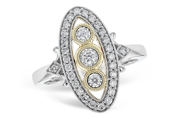 14K Antique Look Diamond Fashion Ring