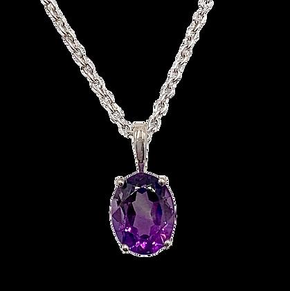 Sterling Silver February Birthstone Amethyst Necklace