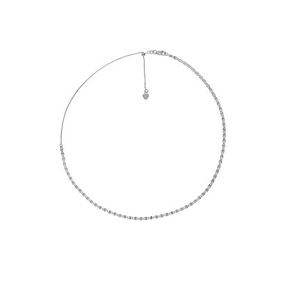 14K White Gold Adjustable Choker Necklace