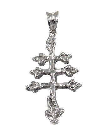 14K White Gold Maronite Cross Pendant