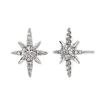 14K White Gold Star Earrings