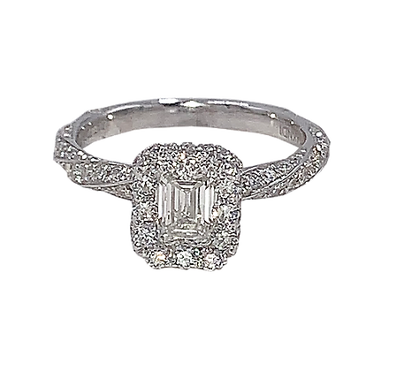 14K White Gold Diamond Emerald Cut Engagement Ring