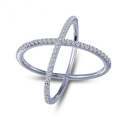 Sterling Silver Platinum Finish Crossover Ring