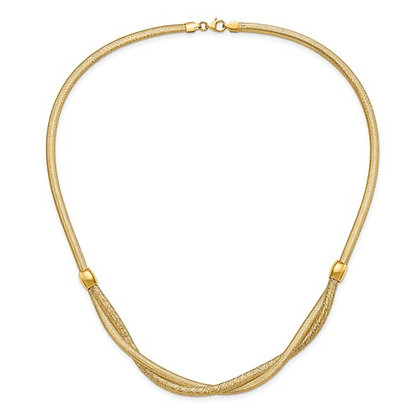 14K Yellow Gold Mesh Woven Necklace