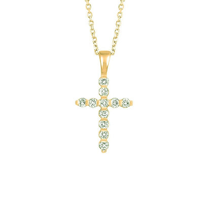 14K Yellow Gold Petite Cross Diamond Necklace