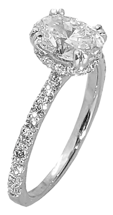 14K White Gold Diamond Engagement Ring with Hidden Halo .57 cttw