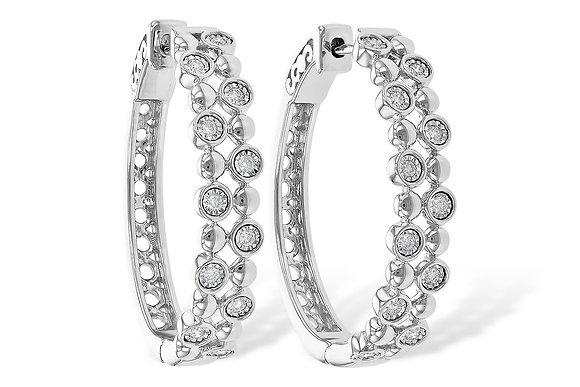 14K White Gold Large Hoop Diamond Earrings