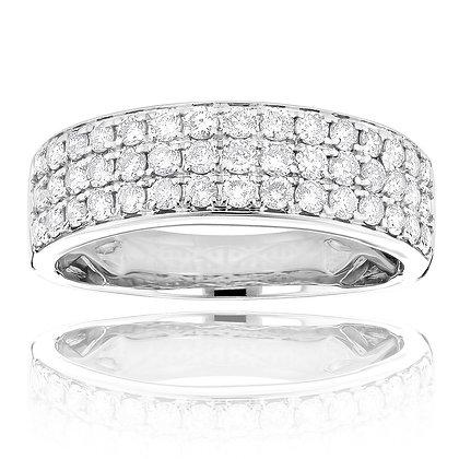 White 14 K 3 Row Diamond Anniversary Ring