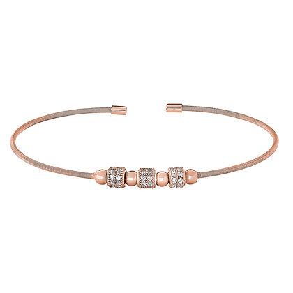 Sterling Silver Rose Gold Finish Bangle Bracelet