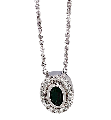 Sterling Silver Oval Onyx & Diamond Necklace