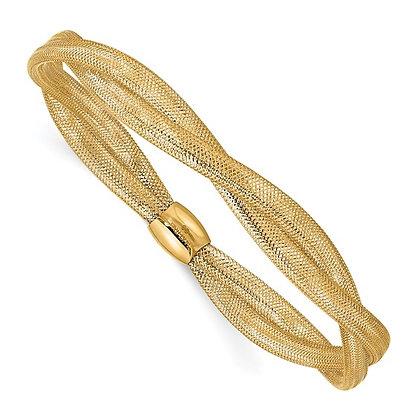 14k Yellow Gold Twisted Woven Mesh Stretch Bracelet