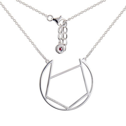 Sterling Silver Open Large Circle Necklace