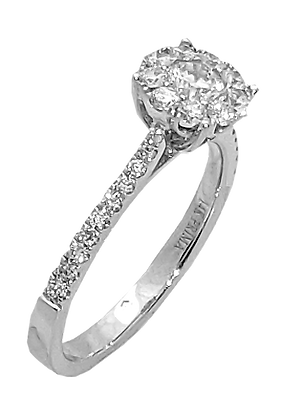 14K White Gold Diamond Engagement Ring with Diamond Cluster Top