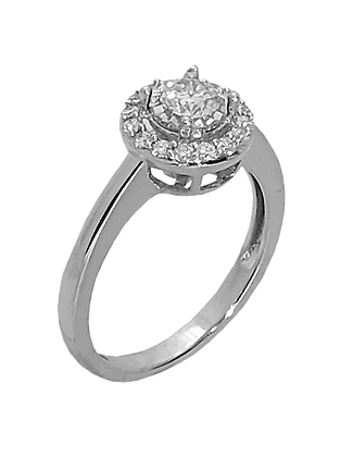 14K White Gold Diamond Halo Engagement Ring with .51 cttw Round Diamonds