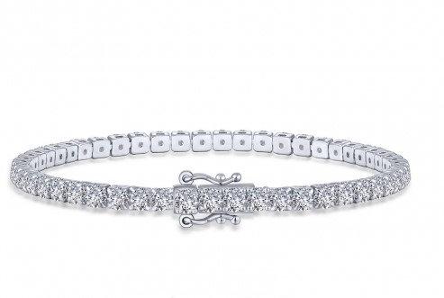 Sterling Silver Platinum Finish Tennis Bracelet