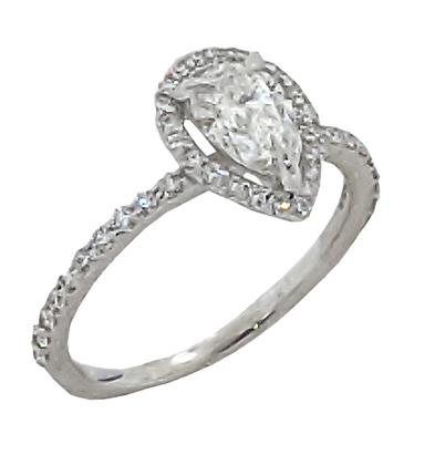 14K White Gold Pear Shape Diamond Engagement Ring with .31 cttw