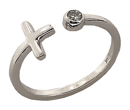 14K White Gold Sideways Cross Ring with Diamond