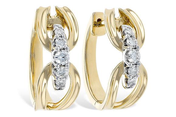 14K Yellow Gold Medium Oval Hoop Diamond Earrings