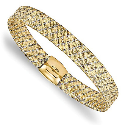 14K Two-Tone Fancy Stretch Bangle Bracelet