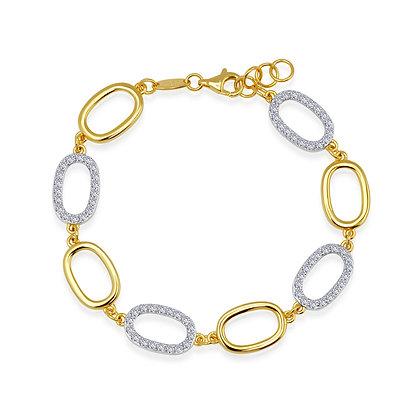 Sterling Silver Two Tone Oval Link Bracelet