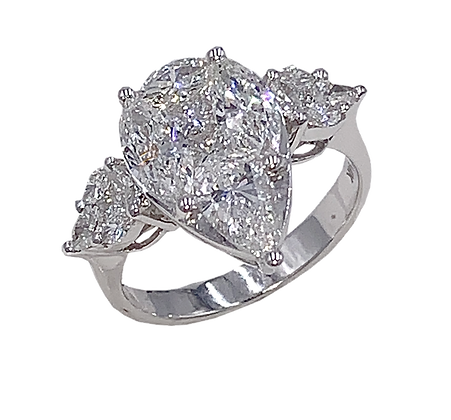 14K White Gold Pear Cut Diamond Engagement Ring