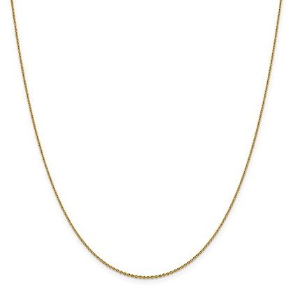 14K Yellow Gold Diamond Cut Oval Open Cable Link Chain