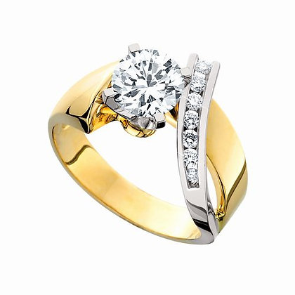 14k Two-Tone Diamond Semi Ring
