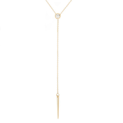 14K Yellow Gold Hawley St Spear Lariat Y Necklace