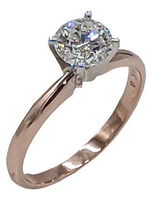 14K Rose Gold Diamond Engagement Ring, Tiffany Style 4 Prong
