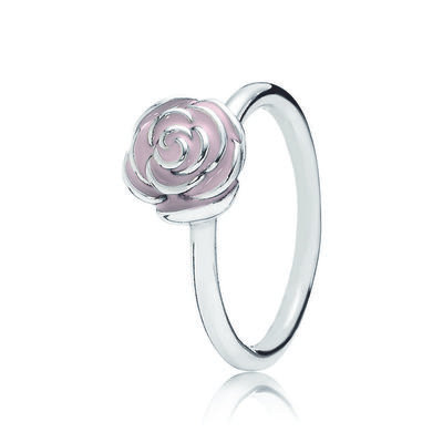 Rose Garden Stackable Ring, Pink Enamel