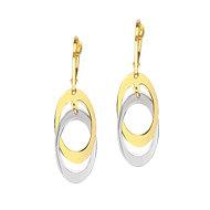 14K Two Tone Double Dangle Oval Leverback Earrings