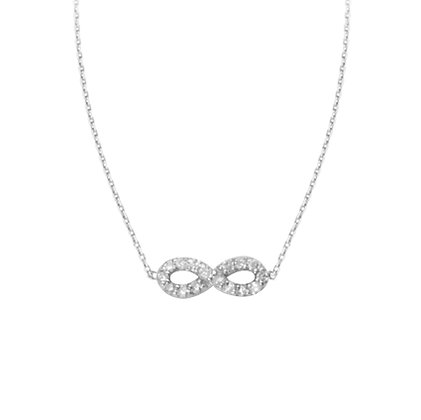 14K White Gold Mini Infinity Necklace