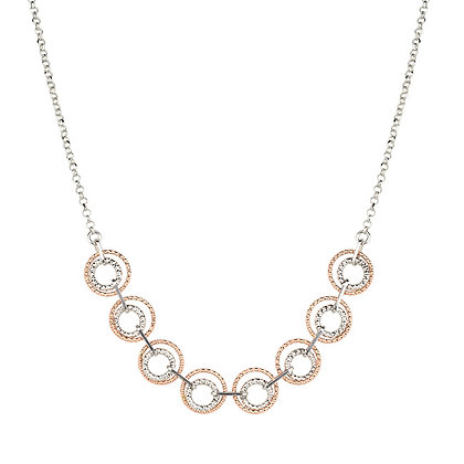 Sterling Silver Rose Gold Circle Bar Necklace