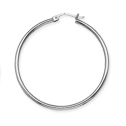 "14K White Gold 1-5/8"" Hoop Earrings"