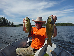 Double monster smallmouth fly in fishing