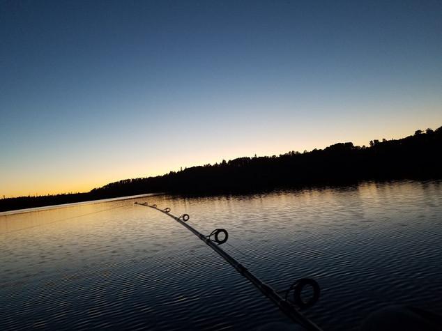 Fishing near sunset