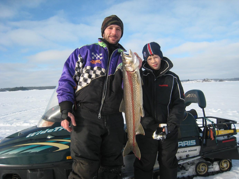 Ice fishing lake trout