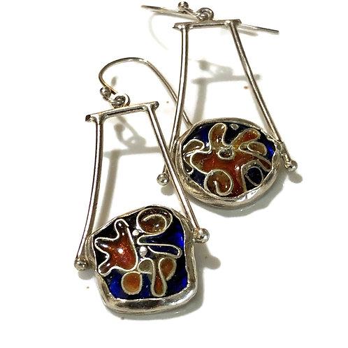 Cloisonné drop earrings