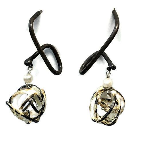 Enameled scribble earrings