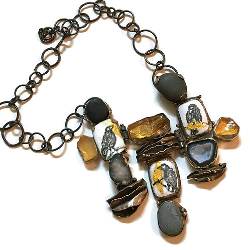 """Statement Necklace """"Murder of Crows"""" in graphite and gold with slate"""