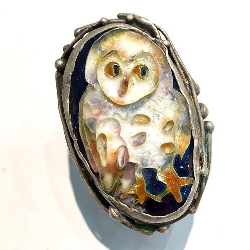 3D cloisonné owl ring on hollow form box