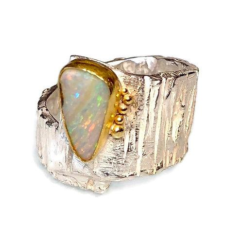 Boulder opal in 18k gold
