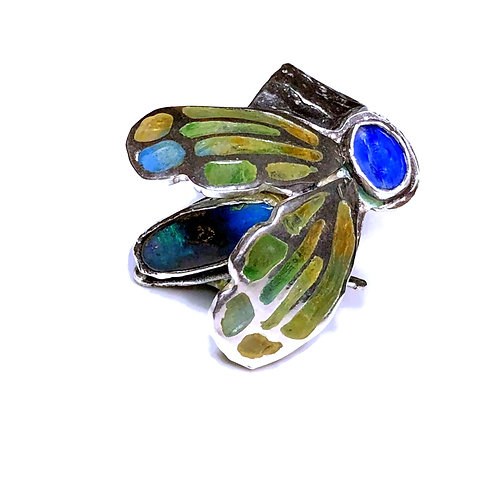 Cicada Statement Ring  with boulder opal and kyanite